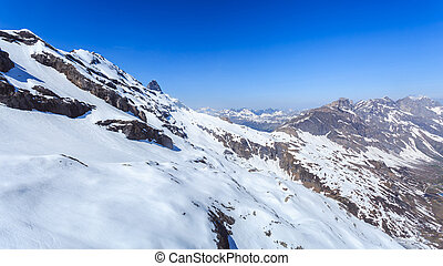 The snow mountain range mountain range from the Titlis is a...