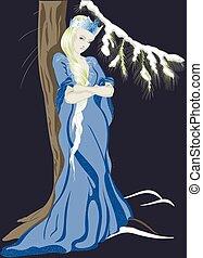 The Snow Queen near a Christmas tree. EPS10 vector illustration
