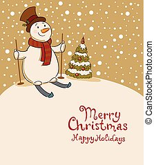 The snowman on skis, cozy retro Christmas card