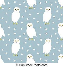 The snowy owl seamless winter pattern.