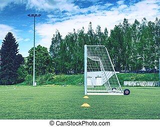 The Soccer Goal in summer. Empty training gate for classic fotbal on green grass