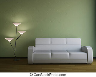 The sofa and the lamp
