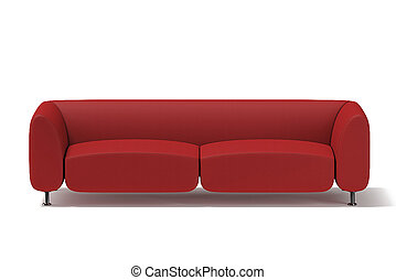 The sofa is soft red . 3D rendering.