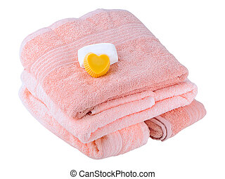 fluffy towels - The soft, fluffy towels on a white...