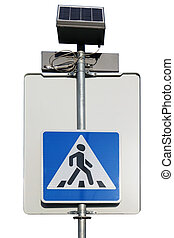 The solar battery is used in the electronics of the modern pedestrian crossing.