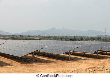 The solar farm for green energy in the field in Thailand...