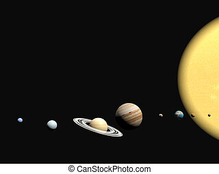 The solar system, abstact presentation. - Abstract 3D ...