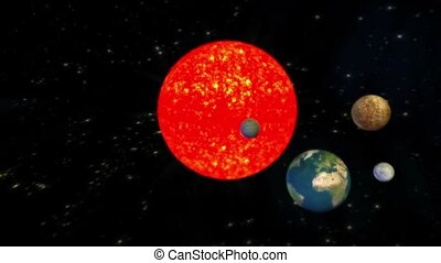 The solar system planets Universe,Planets orbiting the sun.