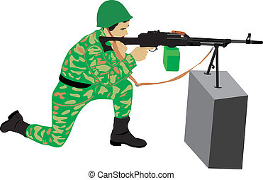 The soldier with a machine gun