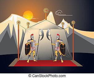 The soldiers guard camp - The soldiers guard the commander...