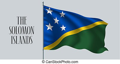 The Solomon Islands waving flag vector - The Solomon Islands...