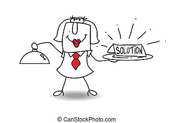The solution - Karen brings a plateau with the word solution