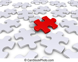 3d red puzzle piece amongst other white ones