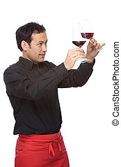 The sommelier - Full isolated studio picture from a man ...