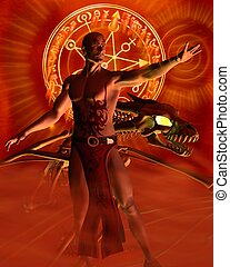 The Sorcerer - Spellcasting - Tattooed male sorcerer and...
