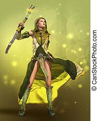 The Sorceress 3d CG - 3D computer graphics of a young woman...