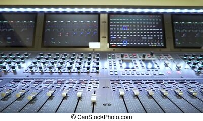 the sound mixing console close-up.