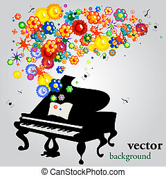 The sound of flowers, abstract vector background