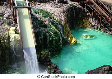 Kusatsu hot spring in Japan - The source of hot spring ,...