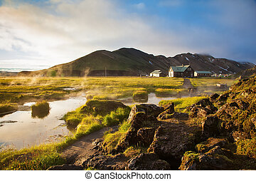 The source of thermal water steam rises - Sunrise Park...