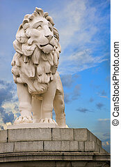 The South Bank Lion statue located at the end of Westminster Bridge in London. In it's third location, itt was moved to the bridge in 1966 after the extension of Waterloo Station.