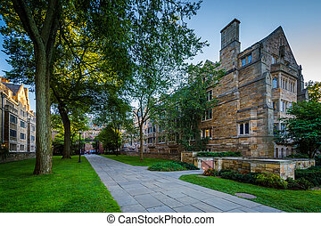 The South Building of Berkeley College and a walkway at Yale...