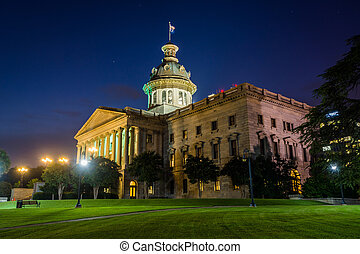 The South Carolina State House in at night, in Columbia, South Carolina.