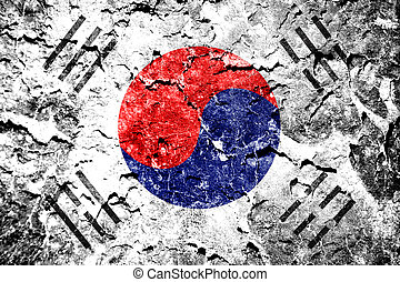 The South Korea flag painted on grunge wall