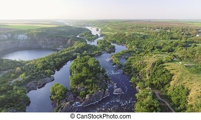 The Southern Bug River. Picturesque rocks and river rapids....