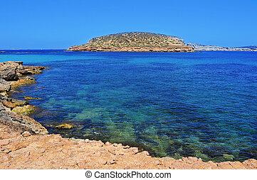 the Southern coast of Sant Antoni de Portmany, in Ibiza Island, Spain