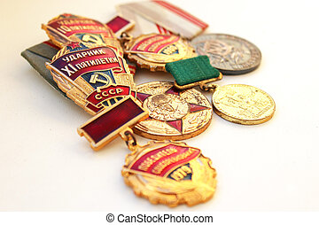 The Soviet medals for valorous work - The isolated images of...