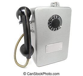 The Soviet payphone - The Russian payphone on a white...