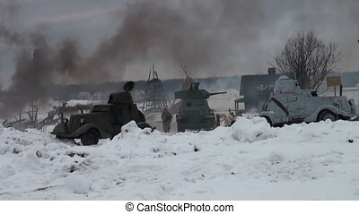 The Soviet soldiers in the war at Leningrad