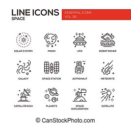 The Space - line design icons set