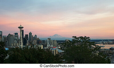 the space needle in seattle at sunset