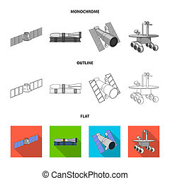 The space station in orbit, the preparation of the launch rocket, the lunar rover on the surface. Space technology set collection icons in flat,outline,monochrome style bitmap symbol stock illustration web.