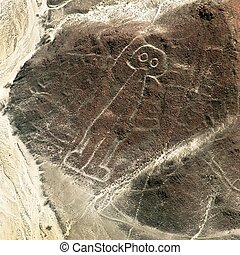 The spaceman or space man, Nazca or Nasca mysterious lines and geoglyphs aerial view, landmark in Peru