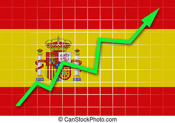 The Spanish flag and arrow graph going up