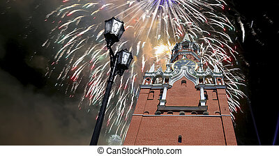 The Spasskaya Tower and fireworks in honor of Victory Day ...