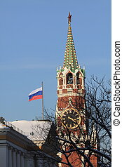The Spasskaya Tower in Moscow Kremlin, Russia.