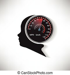 The speed of the human brain compared to car speedometer vector