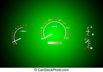 The speedometer of a car.