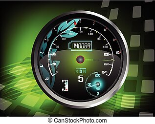 The speedometer on a green color