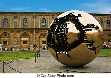 The sphere inside the sphere in the Vatican courtyard