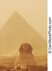 The Sphinx and Pyramid of Khafre in a sand storm, Cairo,...