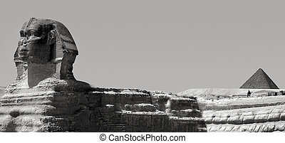 The Sphinx and Pyramid of Menkaure in Giza, Egypt.They are...