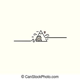 The Sphinx at Giza and pyramid. Vector Flat line drawing.