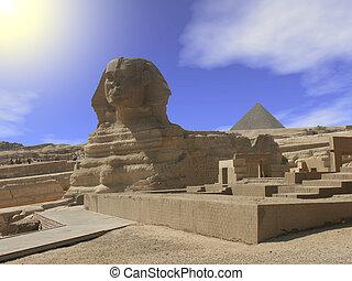 The Sphinx under a desert sun in Egypt.