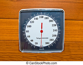 The Sphygmomanometer on wood wall