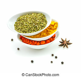 The spices on white background.